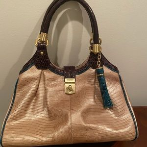Brahim gold toned handbag with teal accents